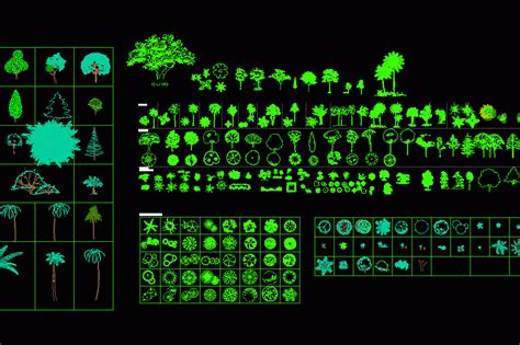 Trees, Shrubs and House Plants 2D DWG Block for AutoCAD