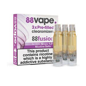 88 Vape Pre Filled E-Liquid Box Of 3 Clearomizers Nicotine