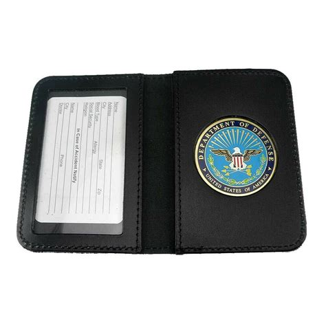 DOD Defense Department Leather Military ID Card Contractor
