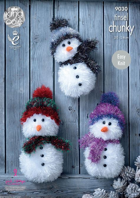 9030 - KING COLE EASY KNIT TINSEL CHUNKY SNOWMAN KNITTING