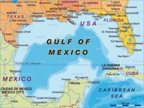 Map of Gulf of Mexico (United States, USA, Mexico) - Map