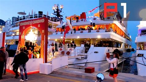 EXCLUSIVE F1 party on biggest yacht in Monaco - YouTube