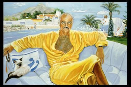untitled picture of Sean Connery relaxing by (his wife